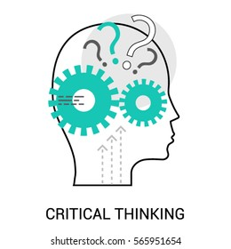 Symbol of Critical Thinking. Profile of the head with gears inside icon vector. Flat style design. Modern vector icon concept for Website Element, Mobile websites, Apps.