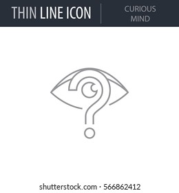 Symbol of Curious Mind. Thin line Icon of Human Personality And Traits. Stroke Pictogram Graphic for Web Design. Quality Outline Vector Symbol Concept. Premium Mono Linear Beautiful Plain