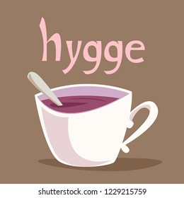 The symbol of the Danish term Hugge. The atmosphere is cozy Scandinavian style. Vector illustration. Mug and inscription Hugge.