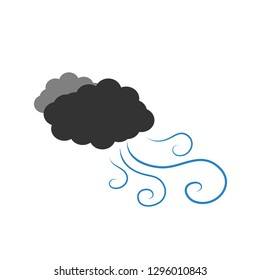 Symbol of a dark cloudy with wind. Vector illustration on a white background. Cartoon of clouds and windy.