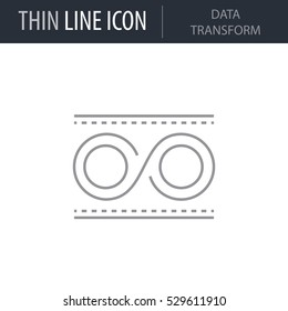 Symbol of Data Transform Thin line Icon of Data Science. Stroke Pictogram Graphic for Web Design. Quality Outline Vector Symbol Concept. Premium Mono Linear Beautiful Plain Laconic Logo