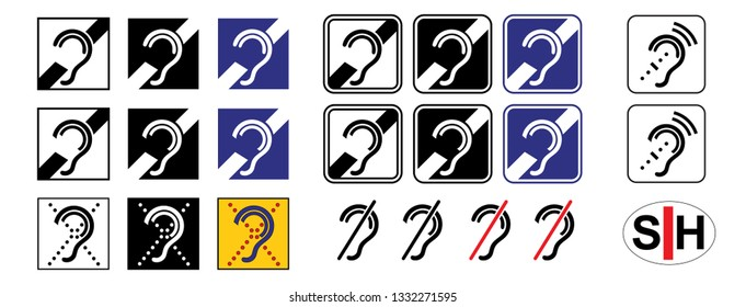 Symbol for deafness Ear hear healthy sleep healthy aging Hearing loss Think safety first Fun Funny Vector access deaf icon icons sign signs human Accessibility medical symbol logo hearing impaired aid