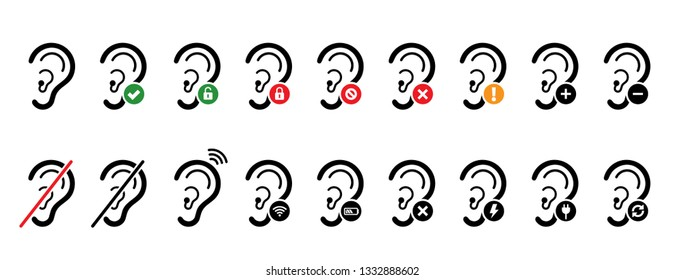 Symbol for deafness Ear hear healthy digital aging Hearing loss Think safety first Fun Funny Vector access deaf icon icons sign signs human Accessibility medical symbol logo hearing impaired aid line