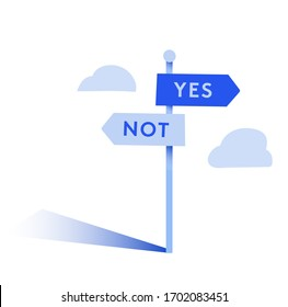 symbol of Decision, a road with the arrows that indicate opposite directions