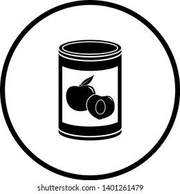 symbol depicting a can of peaches