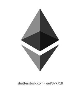 Symbol of digital crypto currency Ethereum, gray