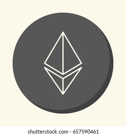 Symbol of digital crypto currency Etherium, a round icon with an illusion of volume