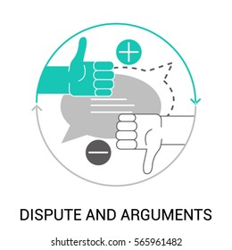 Symbol of Dispute and Arguments, Pros and Cons, Dialog and Negotiation, Discussion. Flat style design. Modern vector icon concept for Website Element, Mobile websites, Apps.