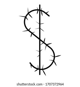 the symbol is a dollar sign made of barbed wire