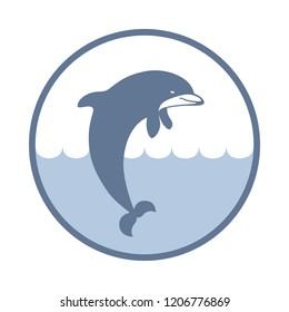 Symbol dolphin. Icon jumping dolphin. Logo template isolated on white background. Sign dolphin vector illustration