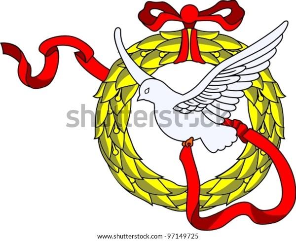 victory's symbol dove with laurel garland