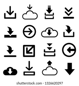 symbol download icon vector for creating button, bar and web app icons, download now symbol, vector arrow down document file symbol icon set