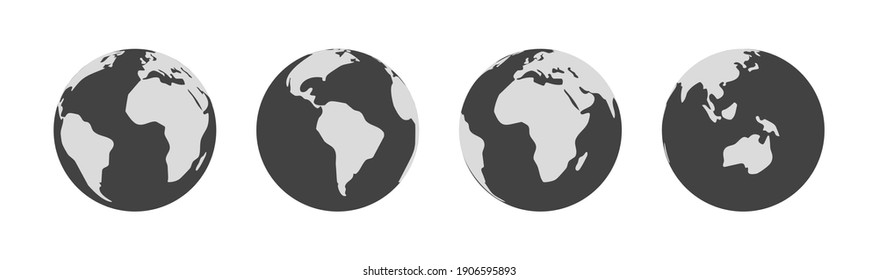 Symbol earth globe world. Vector planet sign. Simple silhouette worldwide map shape element.
