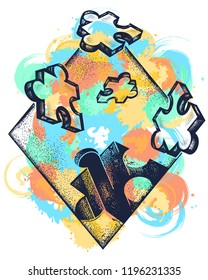Symbol of education, business, solution of tasks, communications, psychology. Puzzle tattoo art. Missing jigsaw puzzle tattoo and t-shirt design