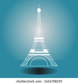 Symbol of the Eiffel Tower, French. isolated on blue background.