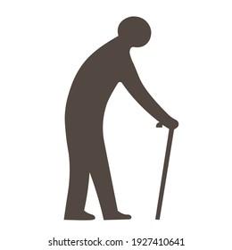 Symbol of an elderly man. Symbol for area marker of old age.