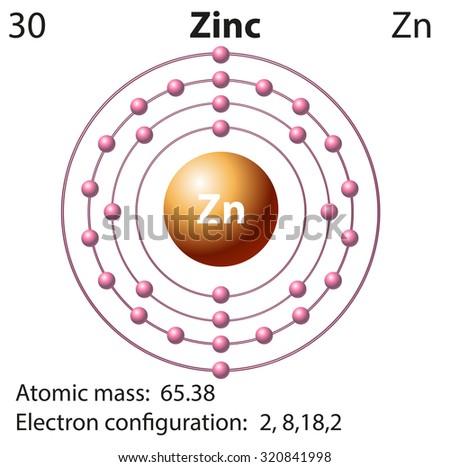 Symbol Electron Diagram Zinc Illustration Stock Vector Royalty Free
