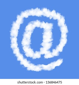 Symbol E-MAIL with clouds written numeral. Vector Illustration