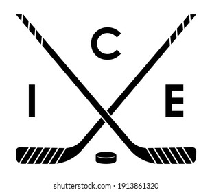 symbol, emblem of crossed sports sticks and black rubber puck for ice hockey for competition. Hockey sports equipment. Active lifestyle. Vector