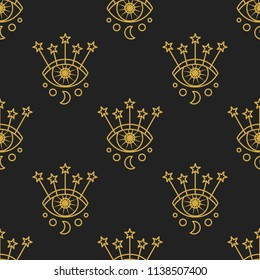 Symbol of eye with moon and stars. Vector seamless pattern