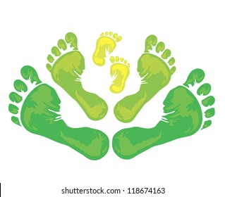Symbol of family - three green foot print from the father, mother and child