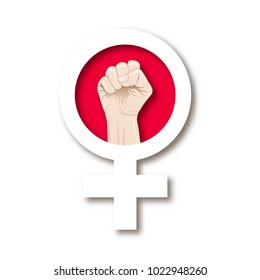 Symbol of feminism with a female fist isolated on white background. Hand drawn colorful vector illustration.
