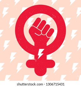Symbol of feminist movement on lightning background. Woman hand with her fist raised up. Girl Power concept. Vector illustration.