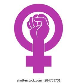 Symbol of feminist movement. Vector template