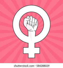 Symbol Feminist Movement Woman Hand Her Stock Vector Royalty Free
