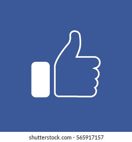 Symbol of finger up, thumb up in flat style isolated on blue background.Vector illustration of  hand.