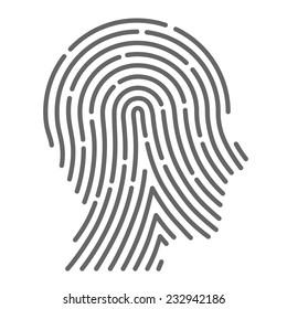 Symbol fingerprint head, fingerprint sign line black, Vector illustration