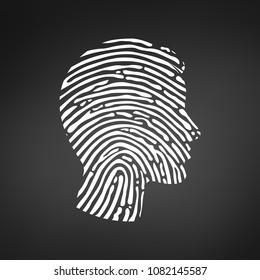 Symbol fingerprint head, White fingerprint sign line , Vector illustration isolated on modern black background.
