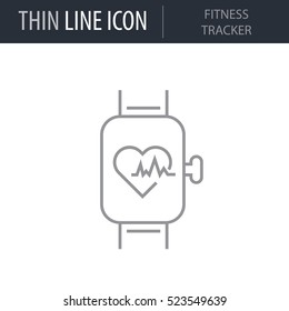Symbol of Fitness Tracker Thin line Icon of Fitness And Sport. Stroke Pictogram Graphic for Web Design. Quality Outline Vector Symbol Concept. Premium Mono Linear Beautiful Plain Laconic Logo