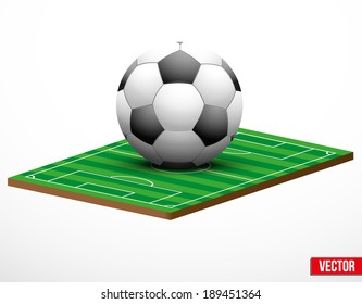 Symbol of a football or soccer game and field in three-dimensional space. Vector illustration.