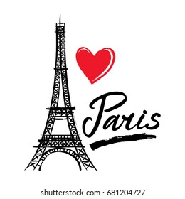 Symbol France-Eiffel tower, heart and word Paris. French capital Paris. Vector sketch illustration