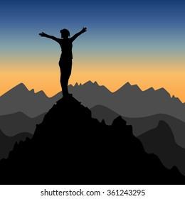 Symbol of freedom , success and victory. Silhouette of a woman with raised hands on top of the mountain. Vector Illustration EPS10.