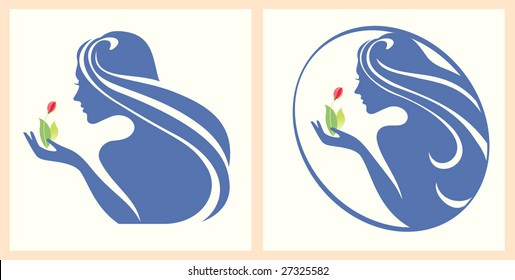 Symbol girl with a flower in a hand