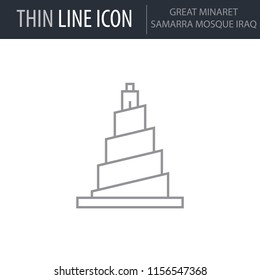 Symbol of Great Minaret Samarra Mosque Iraq. Thin line Icon of Landmark Set. Stroke Pictogram Graphic for Web Design. Quality Outline Vector Symbol Concept. Premium Mono Linear Beautiful Plain