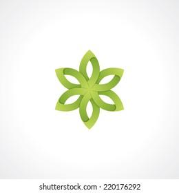 symbol of green flower. vector design element. eps10