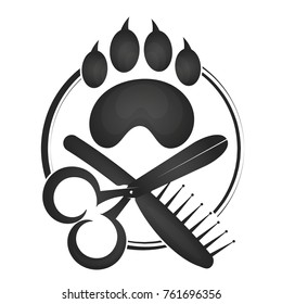 Symbol of hairdresser for animals silhouette vector