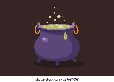 Symbol of halloween. Witches cauldron with green potion on dark background. Vector cartoon Illustration.
