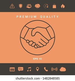 Symbol of handshake in circle. Line Icon. Graphic elements for your design