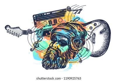 Symbol of hard rock, punk music, rock and roll art watercolor splashes style. Bearded man, guitar and audio cassette tattoo and t-shirt design