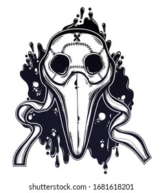 Symbol of a health crisis, biohazard, disease outbreak as plague doctor mask. Epidemic vintage design, vintage goththic tattoo style. Human medical history art. Isolated vector illustration.
