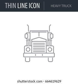 Symbol of Heavy Truck. Thin line Icon of Transportation. Stroke Pictogram Graphic for Web Design. Quality Outline Vector Symbol Concept. Premium Mono Linear Beautiful Plain Laconic Logo