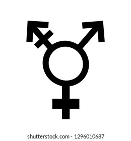 Symbol of homosexual, transsexual. Vector silhouette on white background. Icon of homosexuality and trassexuality. Illustration gay, transgender sign.