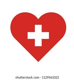 symbol for hospital red heart white cross inside vector graphics