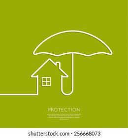 Symbol of the house under the protection of an umbrella.