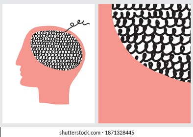 Symbol of Human Mind. Vector Illustrarion with Red Human Head with Black Woolen Brain on a White Background. Abstract Hand Drawn Geometric Layout. Mental Health Icon.