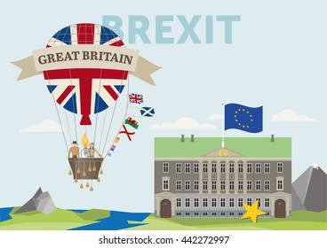 symbol illustration of brexit showing a flying british air balloon going away from the continent europe